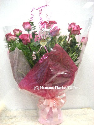 ROSE116 Doz Vivid Pink Ecuador Long Rose Handtied