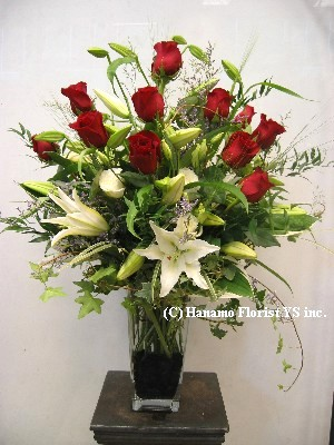 VALE023 1 Doz BEST Red Rose & Lilies Vase
