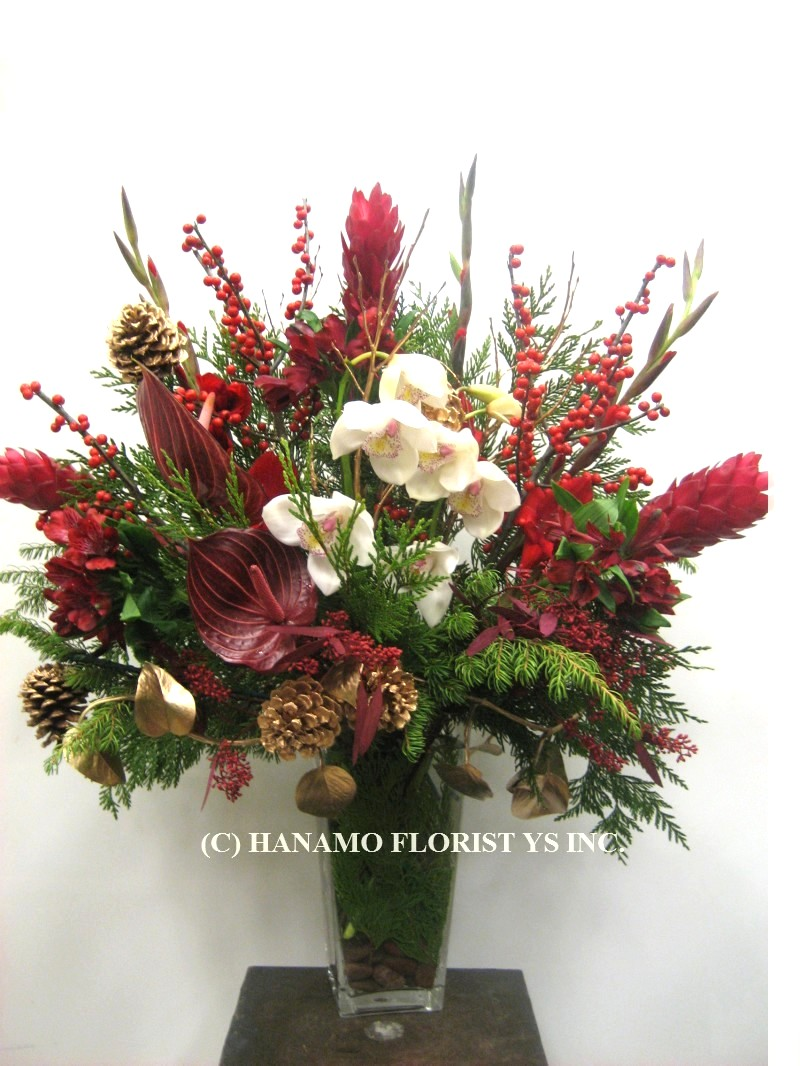 CMAS061 Festive Flower Arrangement in Vase Medium-Large