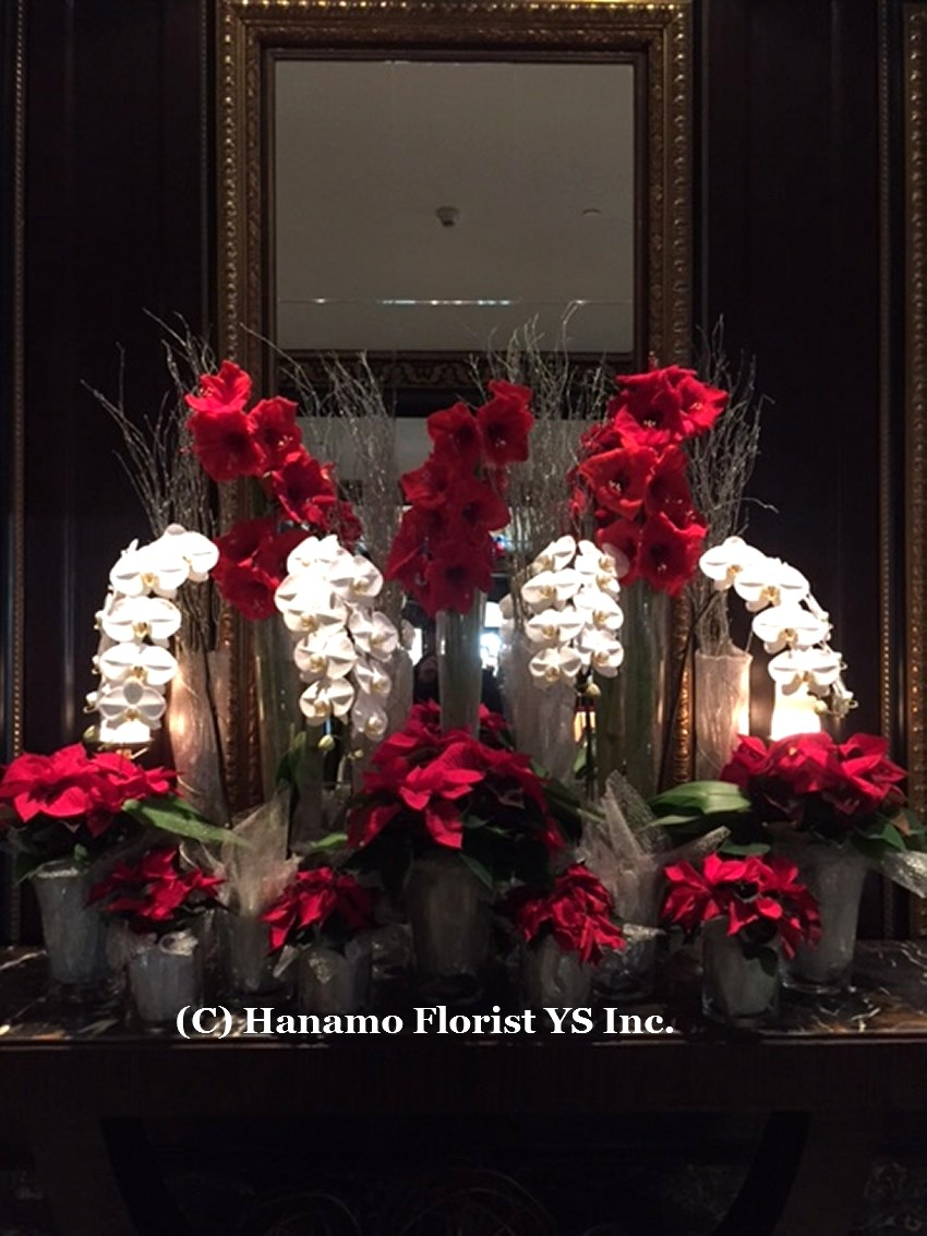 Cmas20153 Christmas Hotel Lobby Display Cmas20153 0 00 Hanamo Florist Online Store Vancouver Bc Canada Quality Arrangements Using A Plethora Of The Freshest Flowers