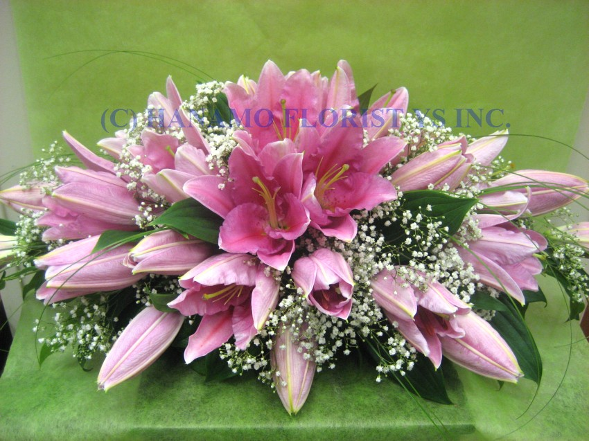 WEDO085 Pink Lily Head Table Arrangement 2 feet