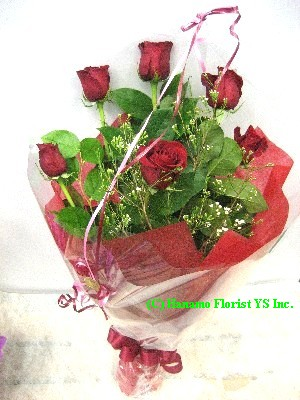 ROSE600 6 Best Red Roses Handtied Bouquet Classic
