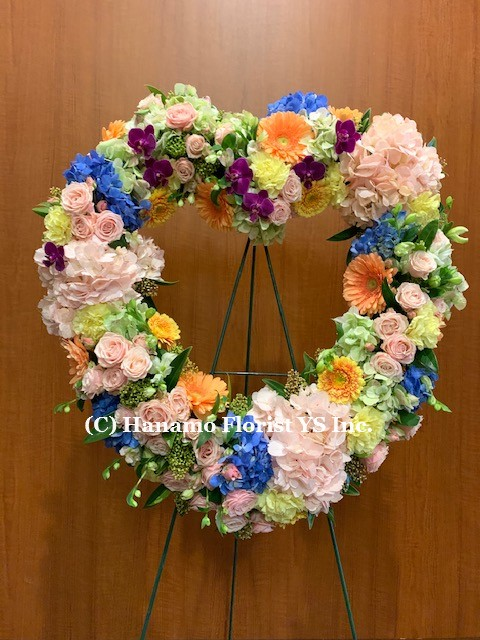 SYMP302 PREMIUM MODERN VERY COLOURFUL HEART WREATH