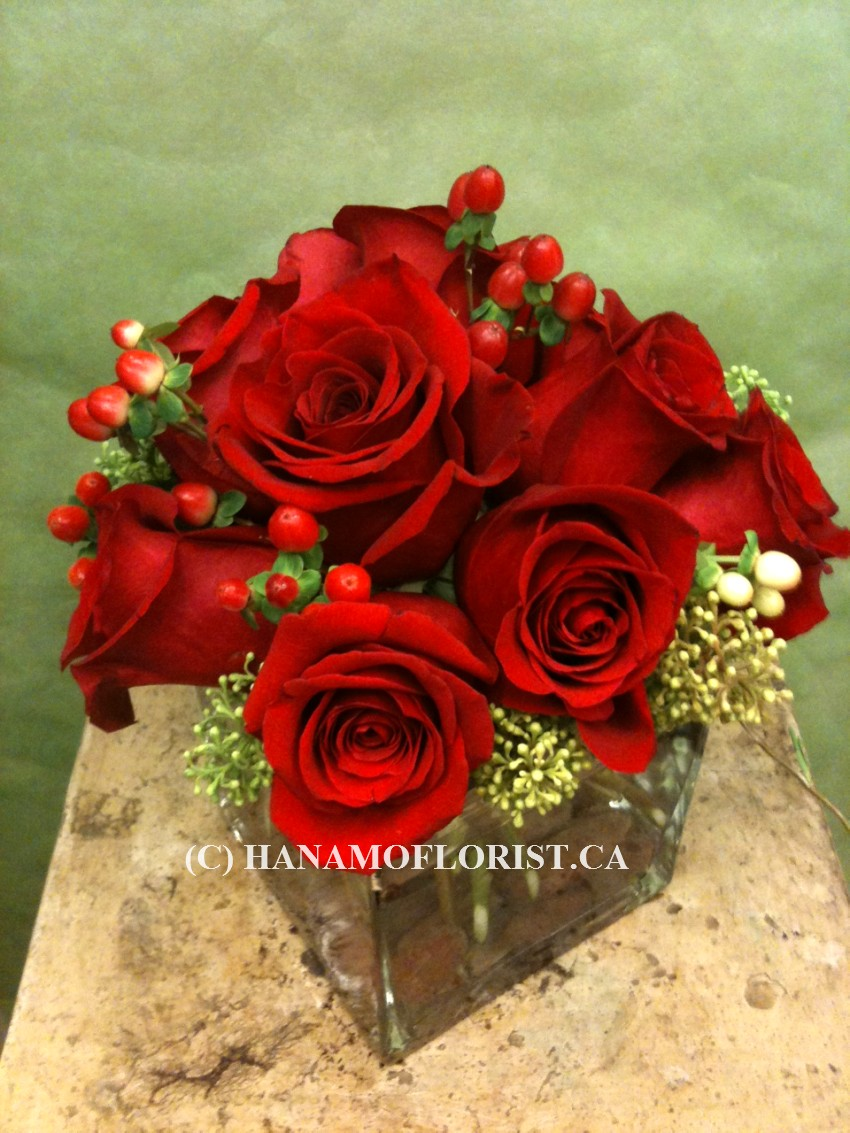 "VALE808 9 Best Red Roses in 5"" Cube Vase (posy arrangement)"