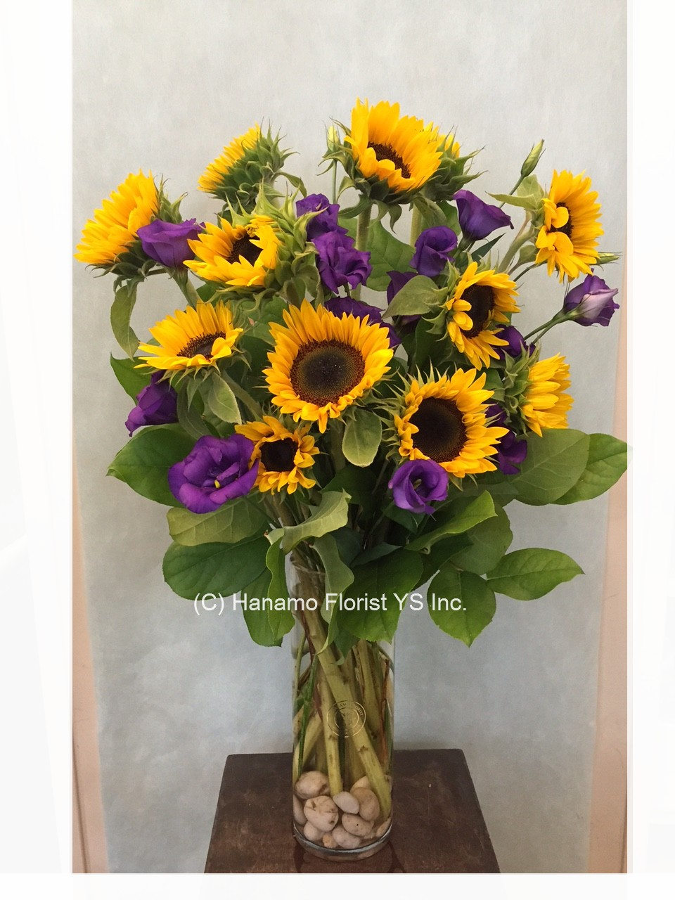 VASE729 Sunflowers & Seasonal Flowers in a Tall Vase