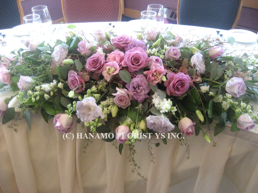WEDO729 Lavender tone Head Table Arrangement