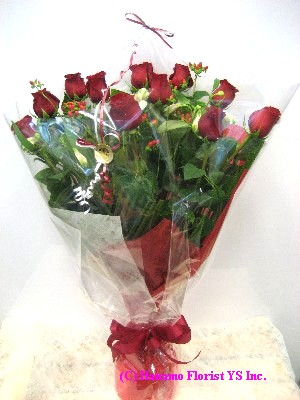 VALE004 1doz BEST long stem Red Rose Hand-tied Classic