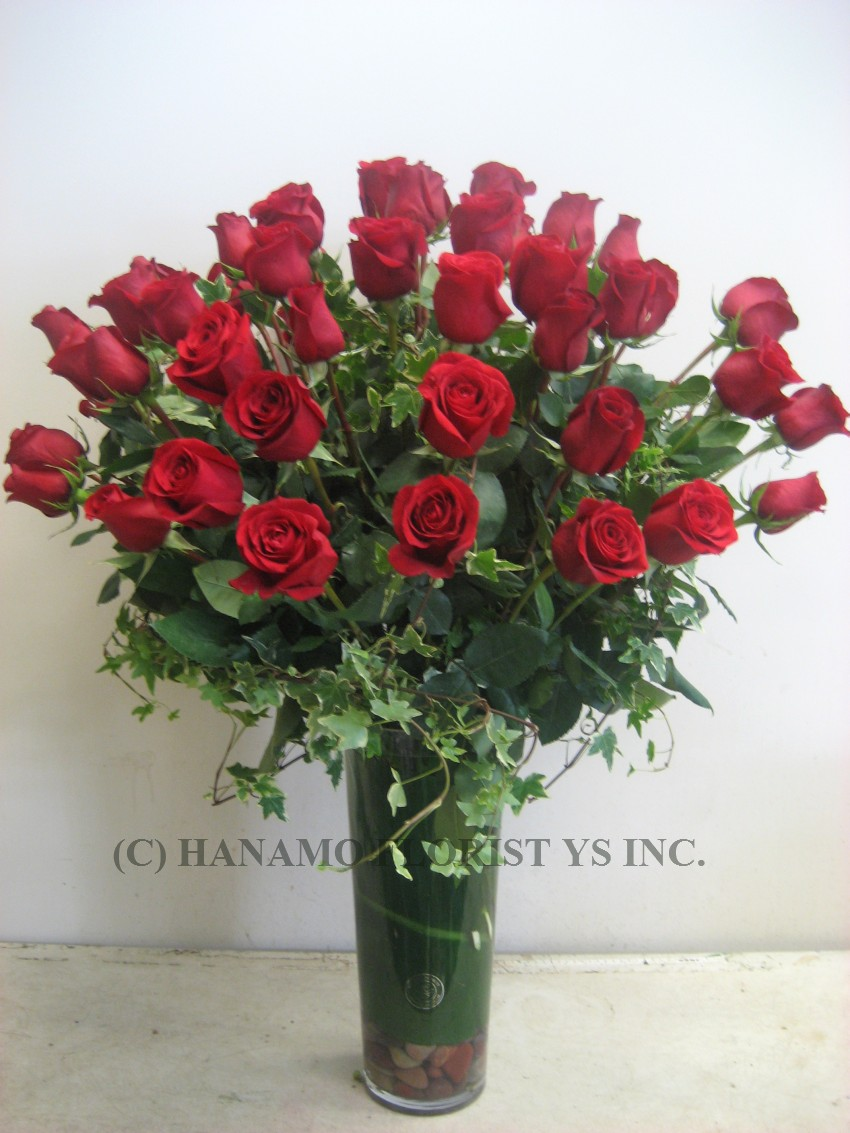 ROSE102 Big 50 Long Ecuadorian Red Roses in Vase