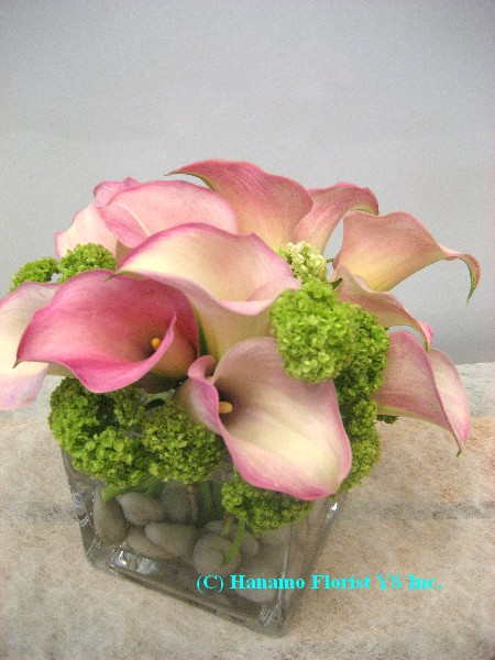 "CUBE030 Callas Lilies in 4"" Cube Glass"