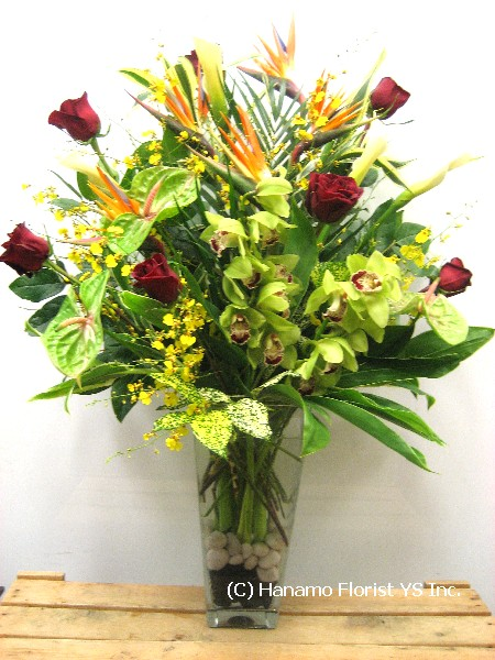 VALE050 Bird of Paradise, Long stem Red Roses & Tropicals vase