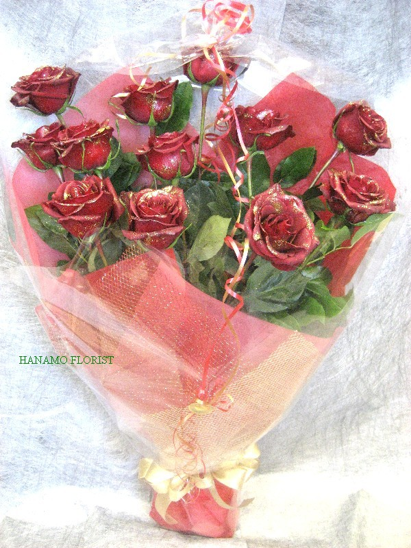 VALE102 1 doz Gritted Long Stem Red Rose Bouquet in Cello
