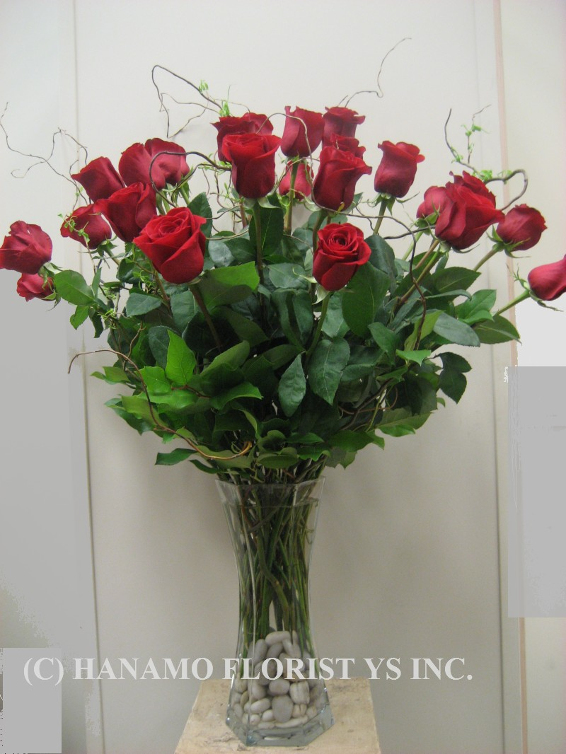 "ROSE006 ""Special"" 2 doz Premium Long Stem Red Rose in Vase"
