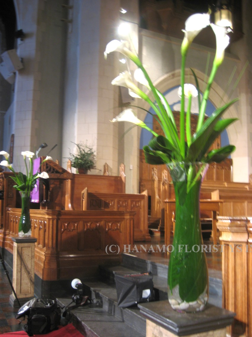 WEDP007 Image : Alter Flowers White Calla Tall Vase