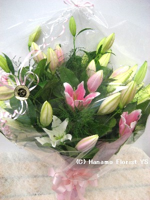 "HAND003 ""Special"" Mixed Large Asian Lilies Bouquet in Cello."