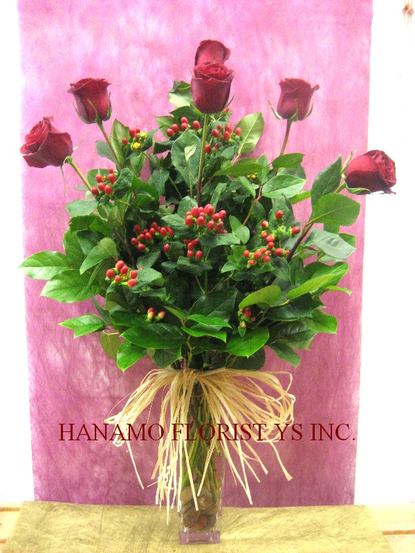 VALE044 6 Ecuadorian Long Stem Red Rose in Vase Classic