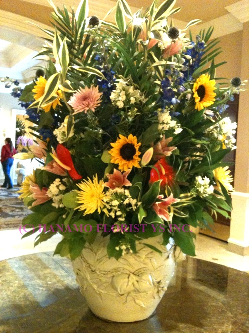 LOBB000 Extra Large Classic Lobby Seasonal Flowers Arrangement