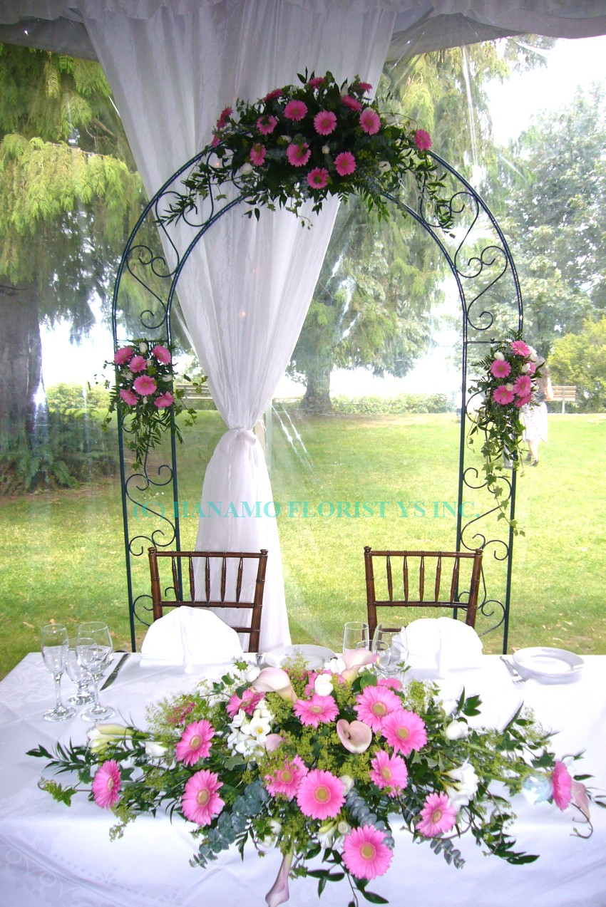ARCH001 Gerbera Wedding Arch & Head Table Arrangement