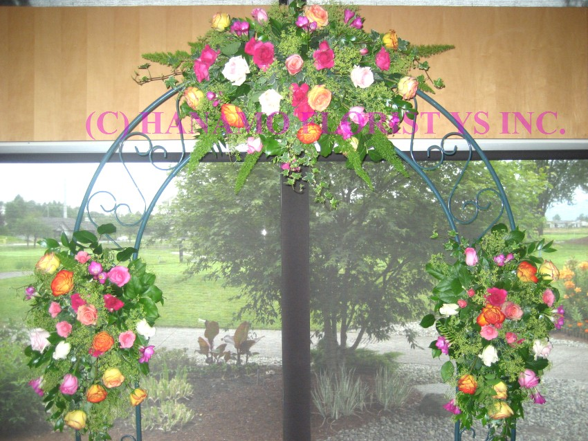 ARCH002 Wedding Arch Flowers with Colourful Roses