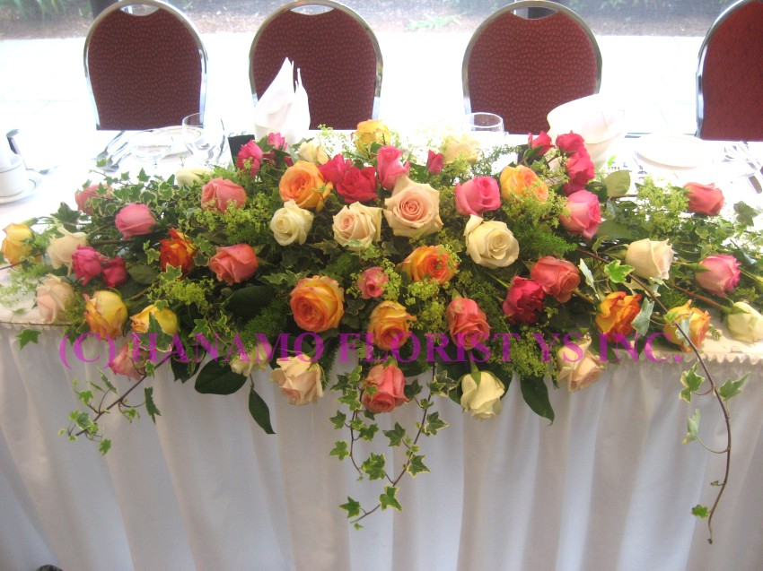 WEDH0710 Wedding Head Table Flowers Colourful Roses