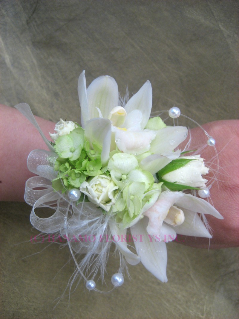 CORS000 Wrist Corsage Mini Cymbidium Spray Rose &Feather