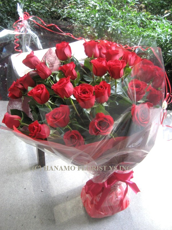 ROSE000 24 Best Long Stem Red or Pink Roses Hand-tied Bouquet - Click Image to Close